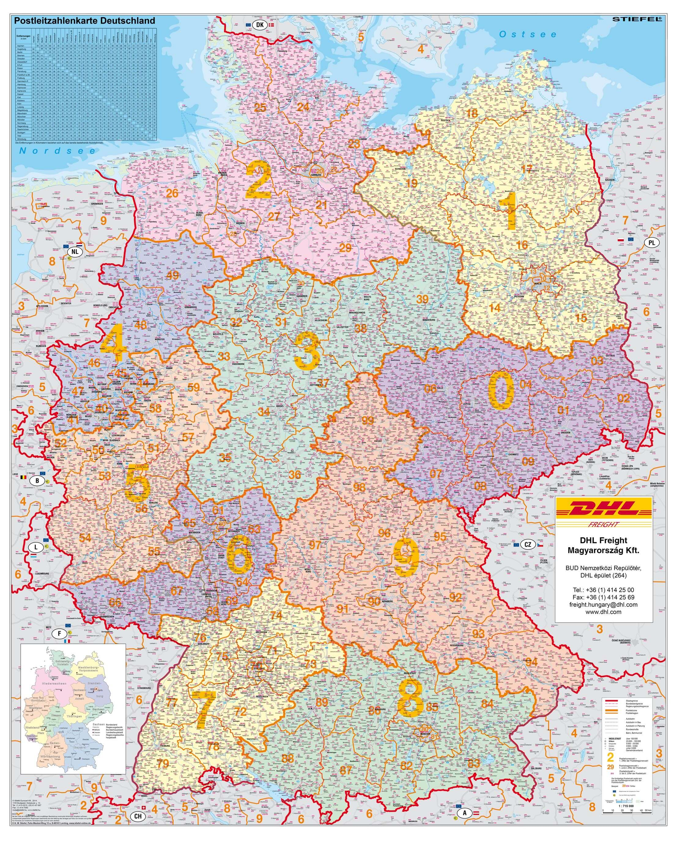 németország irányítószámos térkép Falitérképek | Stiefel Üzleti Térképek németország irányítószámos térkép