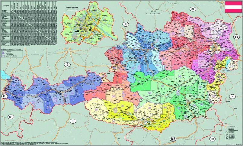 ausztria irányítószámos térkép Irányítószámos térképek | Stiefel Üzleti Térképek ausztria irányítószámos térkép