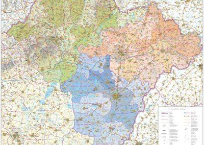 EMKK Észak-Magyarországi Közlekedési Központ szolgáltatási területtérképe