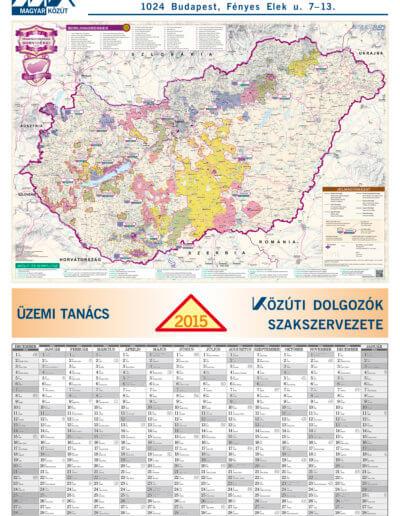Magyar Közút Magyarország bortérkép tervezőnaptár 2015