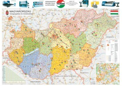 Magyarország Közigazgatása térkép a Vendo Kft. pontjaival