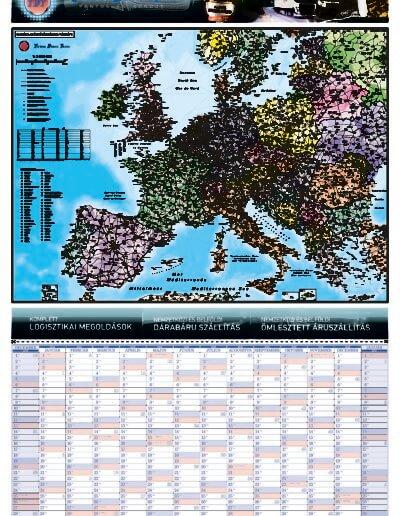 Techno Druck Trans Kft. tervezőnaptára Európa irányítószámos térképével